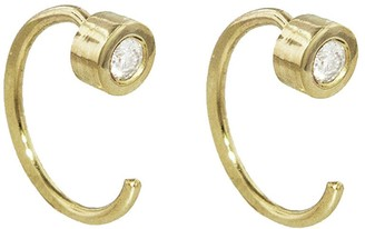 Melissa Joy Manning White Diamond Hug Hoop Earrings - Yellow Gold