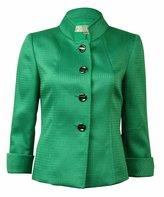 Tahari By ASL Tahari ASL Womens Petites Gina Textured Cuffed Four-Button Blazer