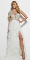 Mac Duggal Cap Sleeve Sheer Illusion Thigh Slit Feathered Dress