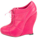 Nina Ricci Leather Wedge Booties