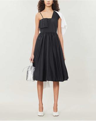 MM6 MAISON MARGIELA Two-tone pleated cotton-blend midi dress