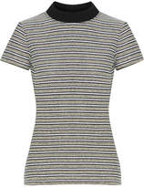 Proenza Schouler Ribbed Jersey-trimmed Striped Cotton-blend Bouclé Top - Off-white