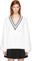 Carven Off-White Merino V-Neck Sweater