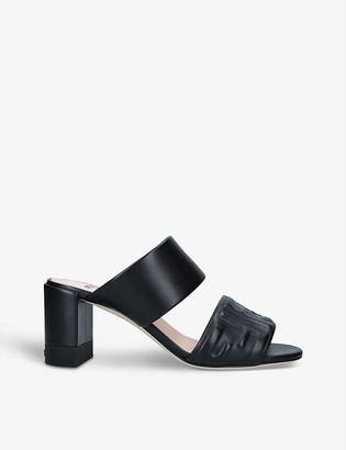 Fendi FF-embossed leather mules