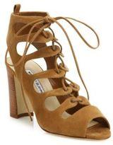 Manolo Blahnik Attal Suede Lace-Up Sandals
