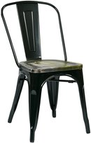 Office Star Bristow Metal Frame Chair with Vintage Wood Seat, Ash Cameron Finish, 2-Pack