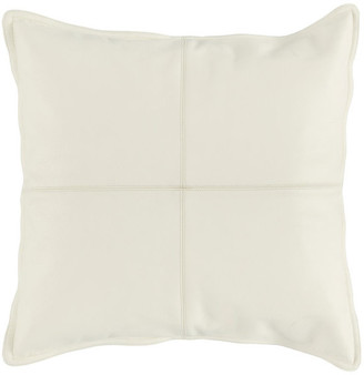 "Kosas Home Cheyenne 100% Leather 22"" Throw Pillow, Ivory"