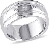 Zales Ladies' 8.5mm Diamond Accent Three Stone Wedding Band in Sterling Silver