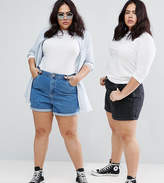 Asos Denim Mom Shorts In Washed Black And Mid Blue 2 Pack