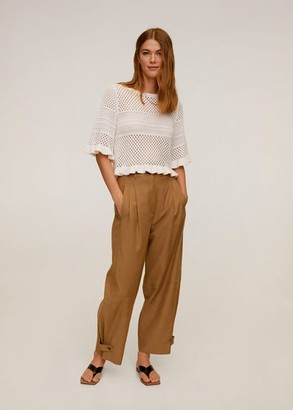 MANGO Openwork cotton sweater ecru - L - Women