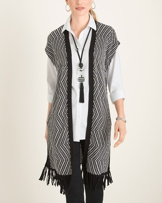 Chico's Chicos Patterned Fringe-Detail Sweater Vest