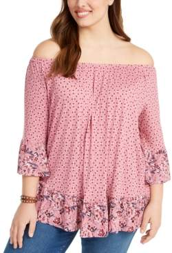 Style&Co. Style & Co Plus Size Printed Off-The-Shoulder Top, Created for Macy's
