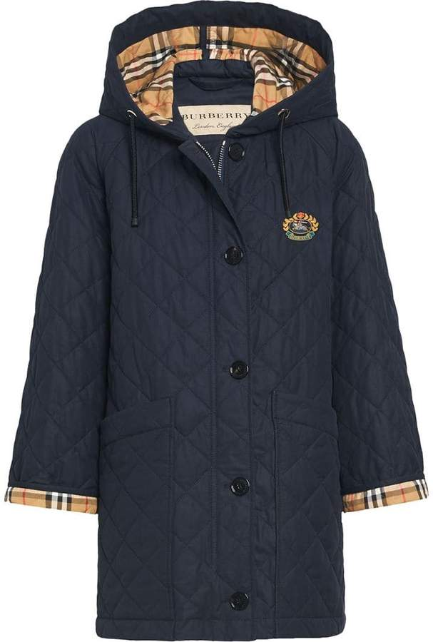 Burberry quilted check cuff raincoat