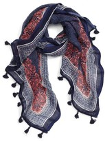 Women's Caslon Framed Waves Tassel Scarf