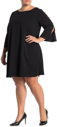 Nina Leonard Jewel Neck 3/4 Sleeve High Tech Dress (Plus Size)