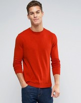 Asos Crew Neck Sweater in Orange Cotton