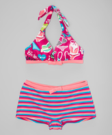 Beach Rays Magenta & Aqua Stripe Bikini - Girls