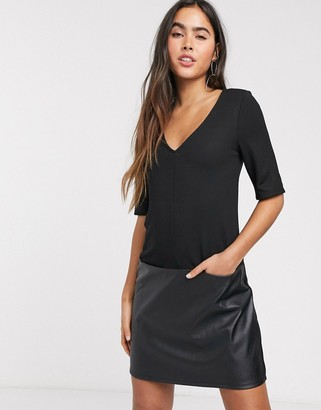 ASOS DESIGN shift mini dress with leather look hem in black