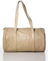 Longchamp Beige Leather Stitch Trim Logo Front Shoulder Handbag