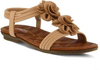 Spring Step Patrizia by T-Strap Flower Sandals- Nectarine