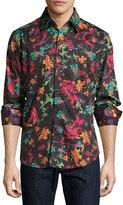 Robert Graham Sansone Floral-Print Long-Sleeve Sport Shirt, Black
