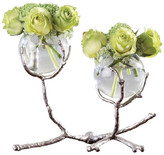 Global Views Twig Nickel and Glass Two Vase Holder