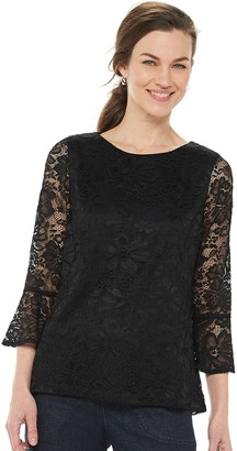Croft & Barrow Women's Floral Lace Bell-Sleeve Top