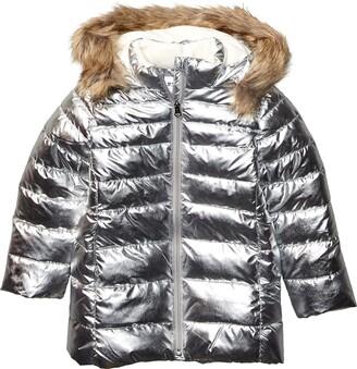 Spotted Zebra Long Puffer Coat Down Alternative Jacket
