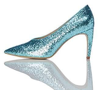 find. Women's Court Shoe with Glitter, Green (Aqua)