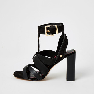 River Island Black elasticated strap wide fit sandals