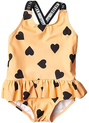 TINY TRIBE Heart Cross-Back Frilly Tank (Infant) (Peach) Girl's Swimsuits One Piece