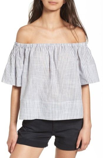 AG Jeans Women's Sylvia Off The Shoulder Stripe Linen Twill Top