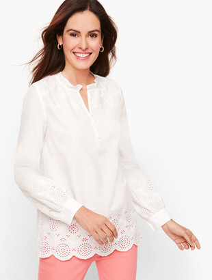 Talbots Embroidered Poplin Popover