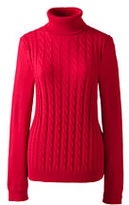 Classic Women's Cotton Cable Turtleneck Sweater-Bright Scarlet