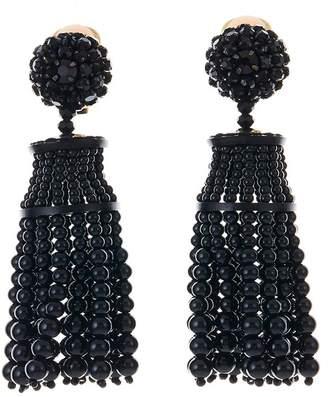 Oscar de la Renta Pave Swarovski Crystal Accented Beaded Tassel Drop Clip-On Earrings