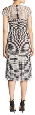 Naeem Khan Short Sleeve Striped Dress