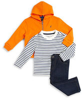 Nautica Baby Boys Zip-Up Hoodie, Striped Tee and Jeans Set