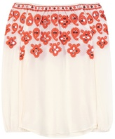 Tory Burch Leyla Off-the-shoulder Embroidered Silk Blouse