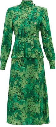 Alessandra Rich Crystal-button Rose-print Pleated Silk Dress - Green Print