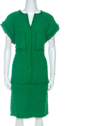 Carolina Herrera Green Boucle Knit Drop Waist Dress M