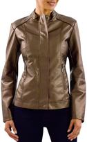 Haggar Women's Metallic Leather-Look Jacket
