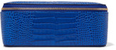 Smythson Mara Croc-effect Leather Jewelry Case - Royal blue