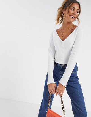 ASOS DESIGN button front top in waffle