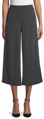 Max Studio Striped Dot-Print Wide-Leg Pants