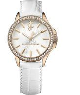 Juicy Couture Jetsetter Women's Quartz Watch with White Dial Analogue Display and White Leather Strap 1900968