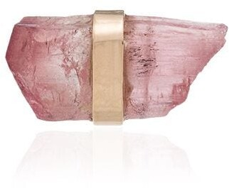 Melissa Joy Manning 14K yellow gold pink tourmaline stud earring