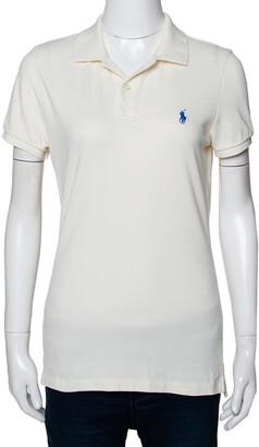 Ralph Lauren Off White Cotton Pique Slim Fit Polo T-Shirt L