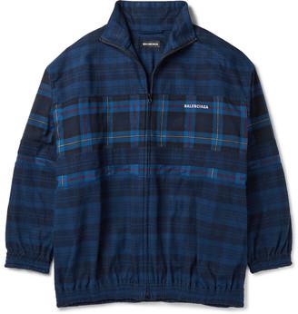 Balenciaga Oversized Checked Cotton-Flannel Bomber Jacket