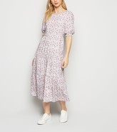 New Look Floral Puff Sleeve Tiered Midi Dress