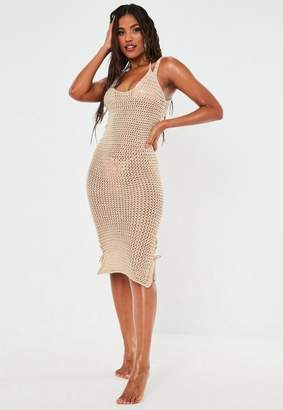 Missguided Stone Crochet Knit Beach Cover Up Midi Dress